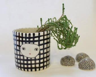 Porcelain vase  -  ceramic cache-pot - container