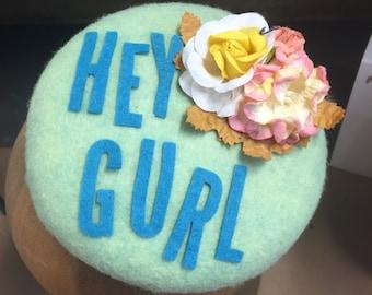 Hey Girl Pistachio Wool Pillbox Cocktail Hat.  Quirky Hat, Funny Hat, Pillbox Hat, Cocktail Hat, Fashion, Hey Girl, Pistachio Hat, Button