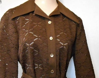 Black Friday Vintage, Top, Lace, Crochet, 1960s, Retro, Eyelet, Belted, Mod Top, 38 Bust, Brown Tunic, Lace Tunic, Holiday Party, Large, Lac