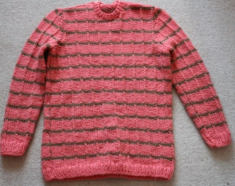 Coral pink handknit striped textured sweater M