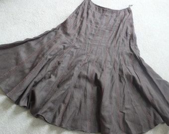 Fenn Wright Manson brown linenflared  maxi skirt uk 14 D 40 Can 12
