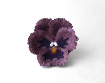 Felted pansy flower brooch, dark lavender pansy, French lilac nuno felt flower, Antique fuchsia nunofelt broach, violet pin, ready to ship