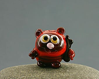 Glass lampwork EWOK bead / Star wars