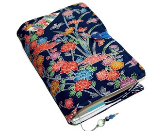Fabric Book Cover, Vintage Kimono Silk Crepe, Blossoms on Blue, Handmade Bible Sleeve, for Hardback Books or Paperback Books, UK Seller