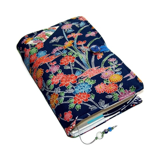 Fabric Book Covers Uk ~ Fabric book cover vintage kimono silk crepe blossoms on