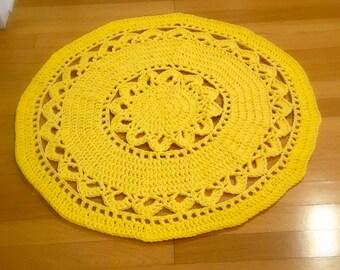 Lemony Yellow Crochet Rug