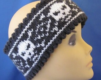 Hand Knitted double side Head Band/Neck Warmer with Skull Ornament. Skully Head Band. Great gift for a someone special. Valentines Day Gift
