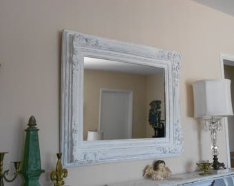 Baroque Hollywood Regency Large Ornate Wall Mirror - Shabby Chic Chunky Wood Framed Mirror - Distressed in Linen White