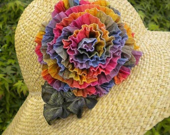 Rainbow Rose Ribbon Flower Millinery Applique