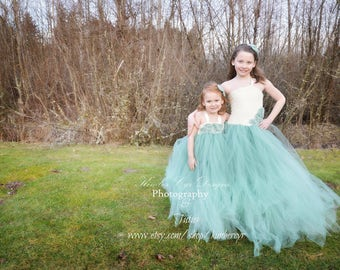 Ivory and Sage Tutu dress for weddings and parties. infant to adult available.