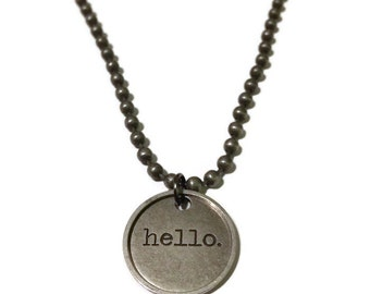 Word necklace hello