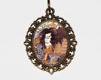 Samurai Necklace, Ukiyo-e, Japanese Woodblock Art, Utagawa Kuniyoshi, Warrior, Bronze Oval Pendant