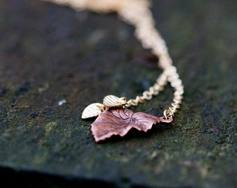 Autumn Leaf Necklace Tiny Fall Leaf Petite Leaf Charm Necklace Delicate Gold Leaves Chocolate Brown Leaf Jewelry Autumn Accessory - N247