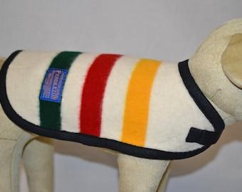 Pendleton Dog Coat jacket sweater Glacier National Park stripe blanket weight wool Pendleton pet lover gift small to medium adjustable