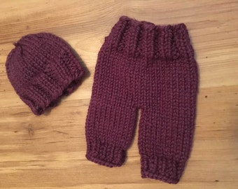 Newborn Hand Knit Plum Shortie Pants and Beanie Hat Set, Newborn Photography Prop, Baby Shorties, Ready To Ship, CLEARANCE