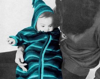 Knit Baby Bunting Sleeping Bag 1960s VINTAGE PATTERN, Boho Striped Cosy HoodieUnisex, Newborn, Instant Pdf Pattern from GrannyTakesATrip
