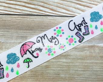 "Puddle Jumper Ribbon, 7/8"", Glitter Ribbon, US Designer Ribbon, April Showers, May Flowers, Umbrella, Ribbon for Bows, Hair Bow Ribbon"