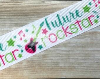 """Future Rockstar Collection, 7/8"""", Rockstar Ribbon, US Designer Ribbon, Make Some Noise Ribbon, Guitars, Ribbon for Bows, Hair Bow Ribbon"""