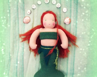 "SHELLY- 12"" Waldorf inspired green mermaid doll, ginger hair, Waldorf doll, made from completely natural materials"