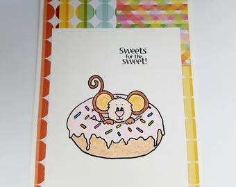 Cute birthday card, handmade birthday card, mouse, donut, sweet birthday wishes