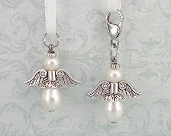 Angel Charm, Cream Swarovski Crystal Pearl, Guardian Angel, Rosary Marker, Pearl Angel Charm, Cream Angel Charm, Pearl Angel Pendant, Angel