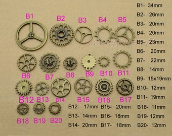 100pcs 11mm-15mm-18mm-20mm-25mm  Filigree Gear Charm Pendant Jewelry Fittings Gear Watch Clock Mechanical Movement Charm Pendant