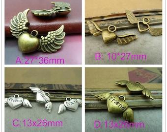 "30pcs of Antique Bronze - 12*26mm"" friend"" Heart wings   ,Heart Wing Angel Charms"