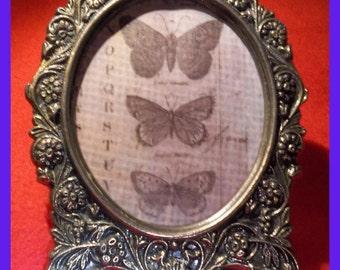 BRASS Oval Frame Vintage Floral Vines Features Tim Holtz Vellum Butterfly Print