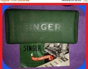 Vintage SINGER Buttonhole Buttonhole Kit Templates Booklet Case Part 160506