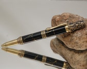Reserved for Dewone-Handmade Victorian Style Antique Bronze Twist Pen- Black Marble and Gold Vein