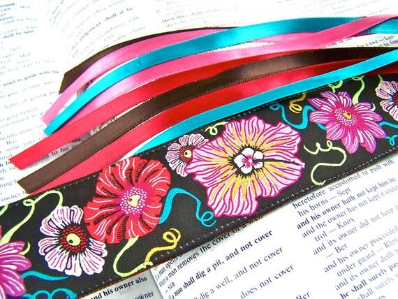 Jacquard Ribbon Bookmark - Oriental Poppies, Teal, Red, Brown & Pink - Satin Ribbon Tassel
