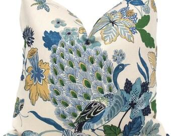 Schumacher Lansdale Decorative Pillow Cover 18x18, 20x20, 22x22 or lumbar pillow - Throw Pillow - Accent Pillow - Toss Pillow, Blue Floral