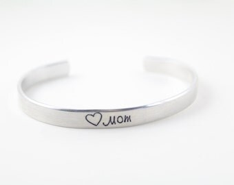 "Stamped ""Mom"" Cuff with heart"