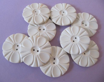 "12 Art Deco plastic buttons, large 1-1/2"" off-white ivory flower casein plastic buttons, 38mm vintage galalith quality 2-hole sew-through"