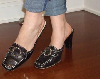 Coach block heel mules