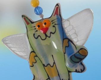 Angel cat Fused Glass Ornament