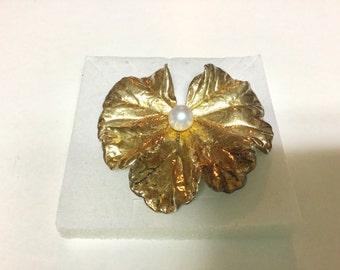 Vintage Napier Sterling Vermiel Lily Pad Cultured Pearl Brooch