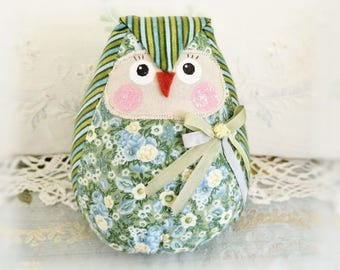 OWL Doll 5 inch Free Standing Owl, Green and Blue Stripes/Floral, Soft Sculpture Doll Primitive Handmade CharlotteStyle Decorative