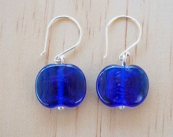 Recycled Glass Earrings. Glass Beads made from a Skyy Vodka Bottle