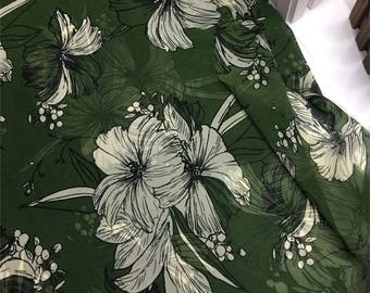 4 colors beige white big flower green red black ginger yellow chiffon  fabric one yard for dress