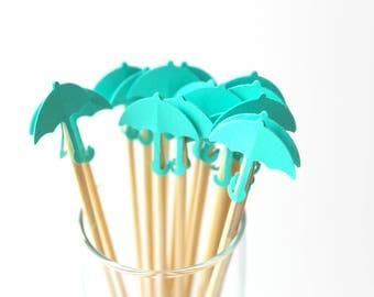 Umbrella Drink Stirrers - Aqua Blue - Spring Bridal Shower - Birthday Party - Rain Umbrella