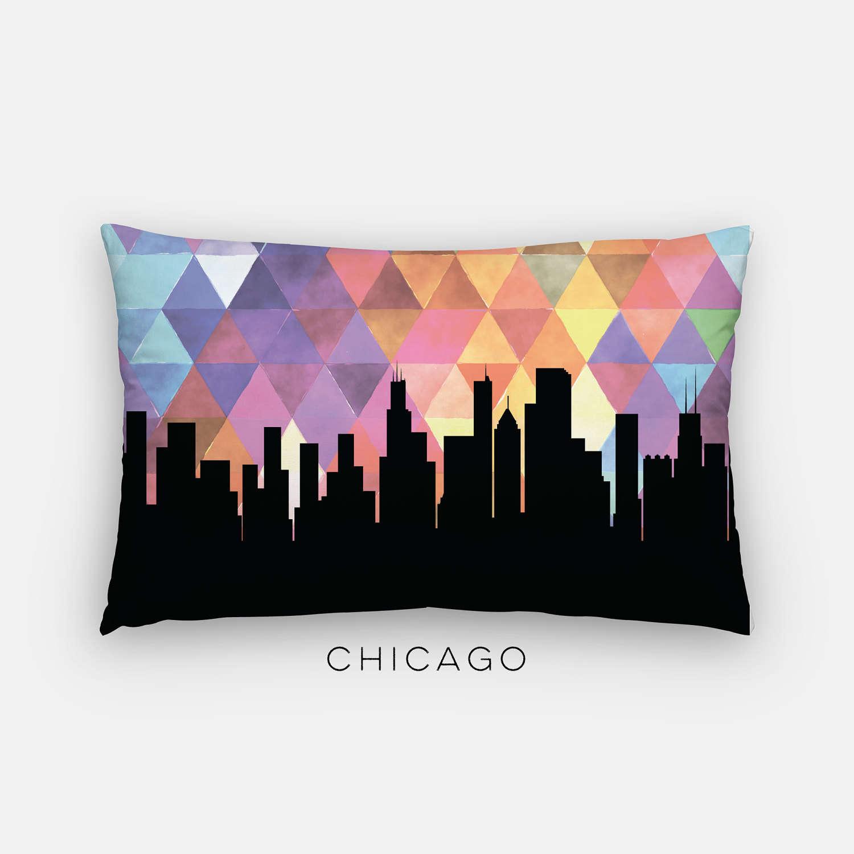 Chicago Skyline Pillow Geometric Chicago Skyline Home Decor