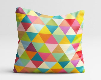 Geometric pillow cover with colourful triangles, decorative pillows, decorative pillow covers, geometric decor, geometric cushion cover