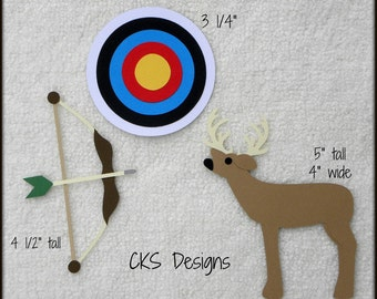 Die Cut Hunting Target Practice Bow Scrapbook Page Embellishments for Card Making Scrapbook or Paper Crafts