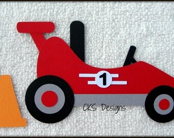 Die Cut Go Kart RED Premade Paper Piecing Embellishment for Card Making Scrapbook or Paper Crafts