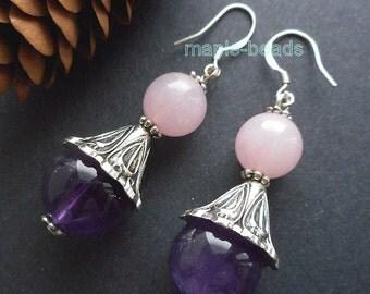 "1.5"" Natural Amethyst, Rose Quartz gemstone beads handmade Earrings"