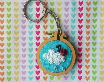 Ladybug on a cloud keychain, Hoop art keychain, tiny hoop ladybird embroidery, handmade, gift, rainy cloud, dandelyne hoop