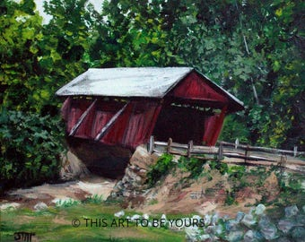 """Covered Bridge original, acrylic painting on 8"""" x 10"""" canvas board; landscape painting, Northeast covered bridge, small landscape painting"""