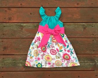 Girls Spring Floral Easter Dress Flutter Sleeve with Sash 3 6 12 18 24 2t 3t 4t 5 6 7 8 9 10 Sister Sibling Matching Girls Dress Pink Teal