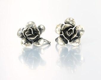 Silver Rose Earrings, Sterling Rose Flower, Vintage 1960s jewelry
